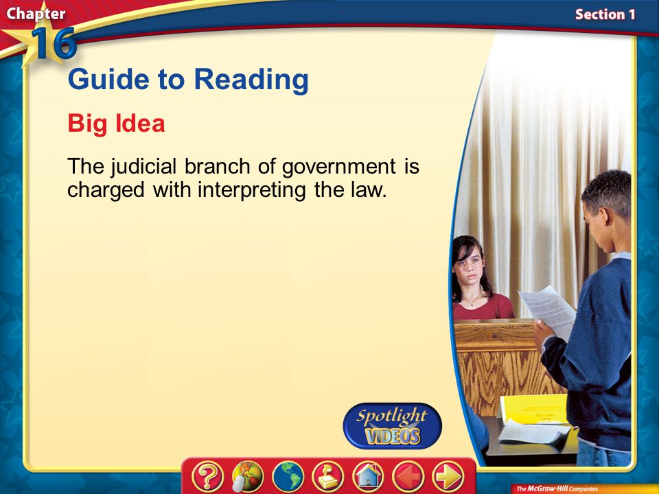 Section 1-Main Idea Guide to Reading Big Idea The judicial branch of government is charged with interpreting the law.