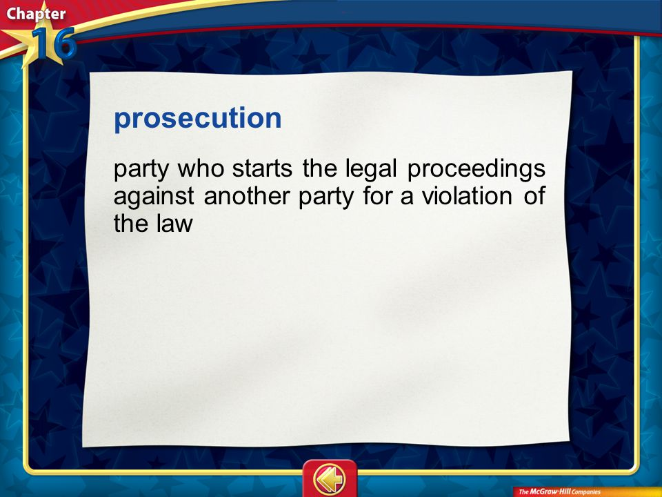 Vocab8 prosecution party who starts the legal proceedings against another party for a violation of the law