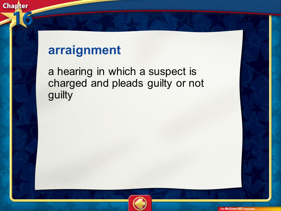Vocab13 arraignment a hearing in which a suspect is charged and pleads guilty or not guilty