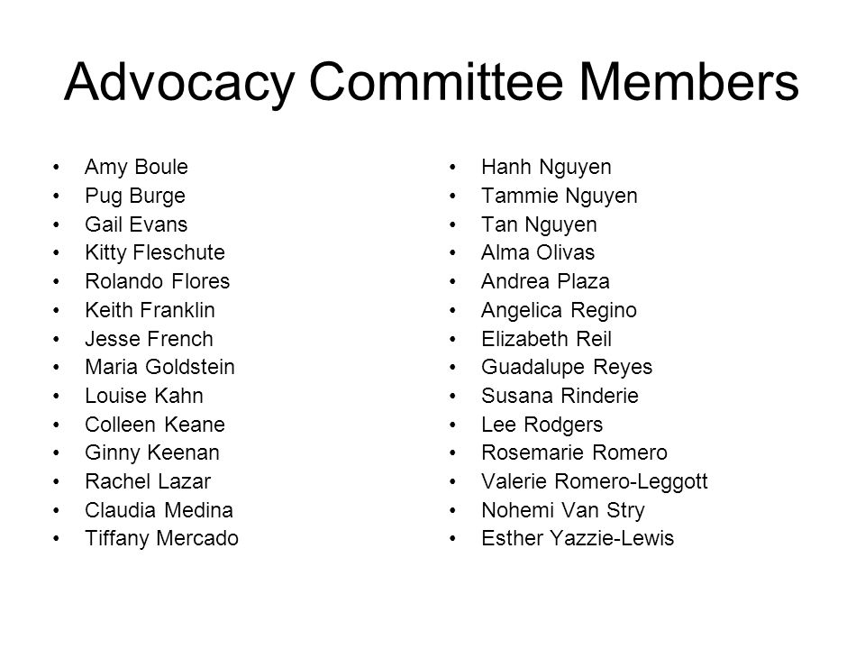 Advocacy Committee Members Amy Boule Pug Burge Gail Evans Kitty Fleschute Rolando Flores Keith Franklin Jesse French Maria Goldstein Louise Kahn Colle
