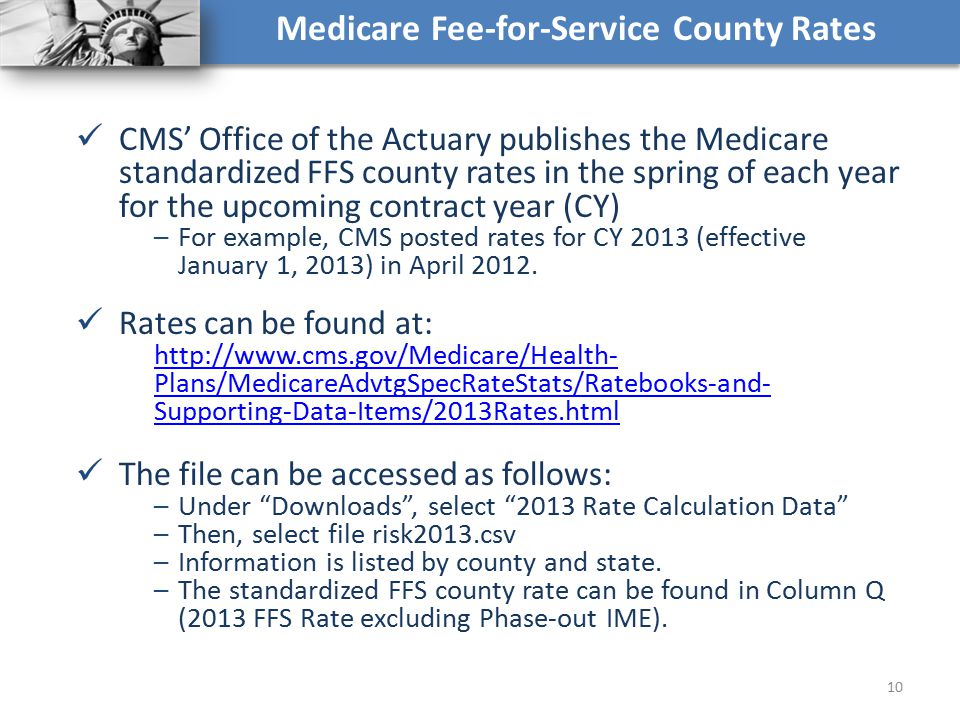 Medicare Fee-for-Service County Rates CMS' Office of the Actuary publishes the Medicare standardized FFS county rates in the spring of each year for t