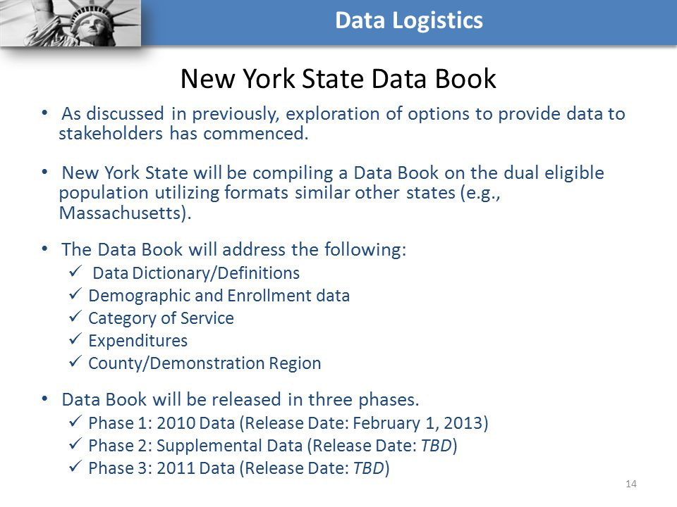 New York State Data Book As discussed in previously, exploration of options to provide data to stakeholders has commenced. New York State will be comp