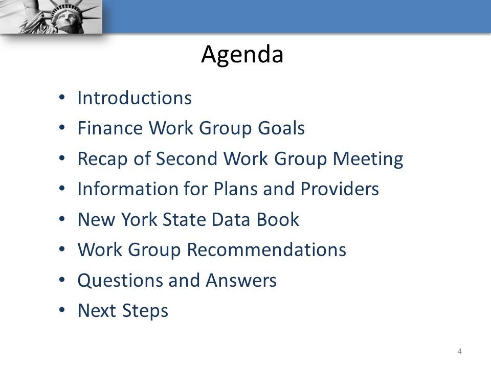 Agenda Introductions Finance Work Group Goals Recap of Second Work Group Meeting Information for Plans and Providers New York State Data Book Work Gro