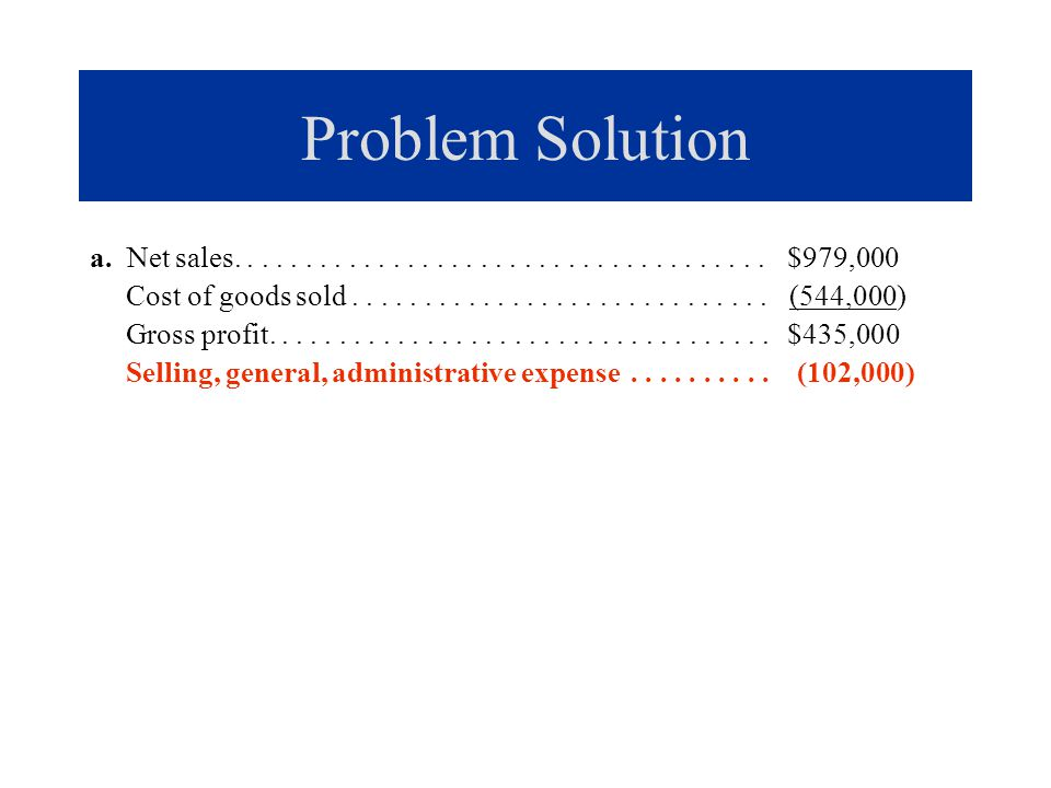 Problem Solution a. Net sales..................................... $979,000 Cost of goods sold............................. (544,000) Gross profit....