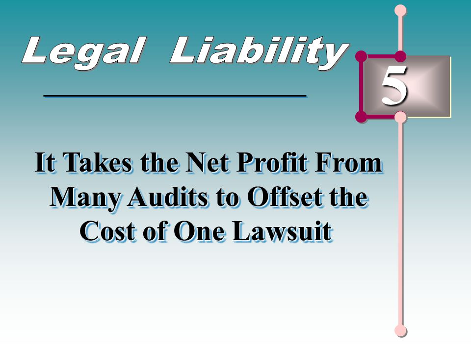 5 It Takes the Net Profit From Many Audits to Offset the Cost of One Lawsuit It Takes the Net Profit From Many Audits to Offset the Cost of One Lawsui