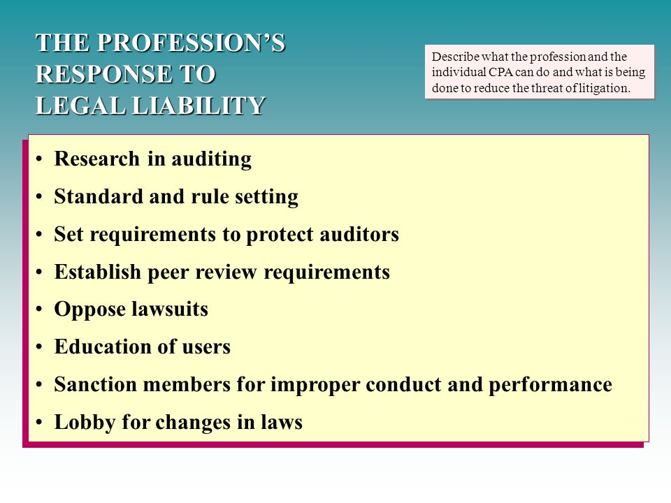 Describe what the profession and the individual CPA can do and what is being done to reduce the threat of litigation. THE PROFESSION'S RESPONSE TO LEG