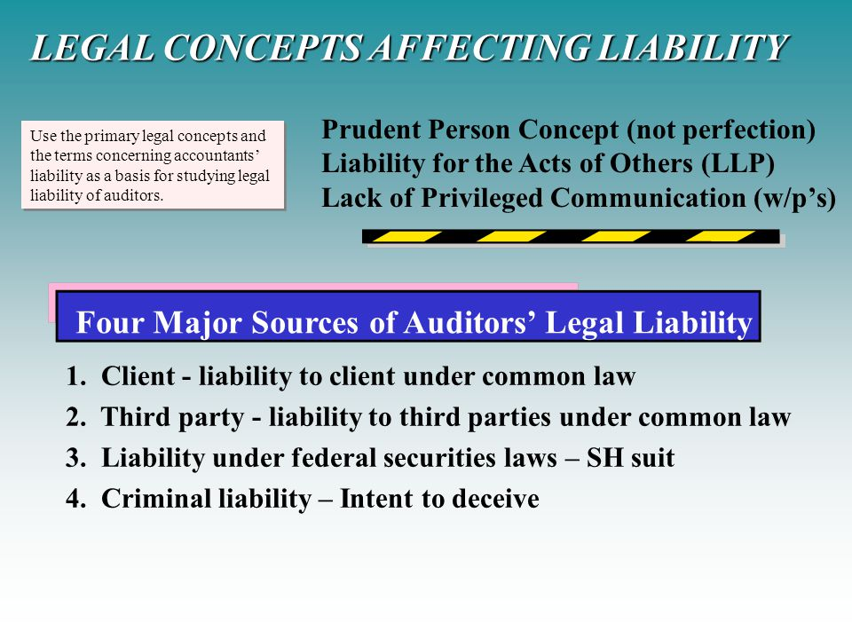 Use the primary legal concepts and the terms concerning accountants' liability as a basis for studying legal liability of auditors. Use the primary le