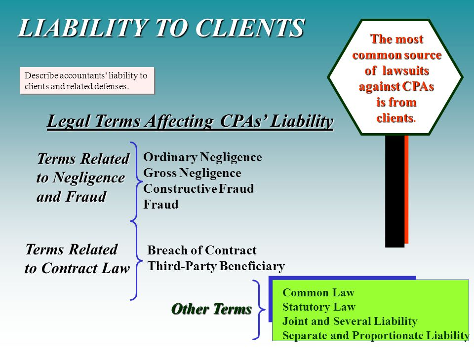 Describe accountants' liability to clients and related defenses. Describe accountants' liability to clients and related defenses. LIABILITY TO CLIENTS