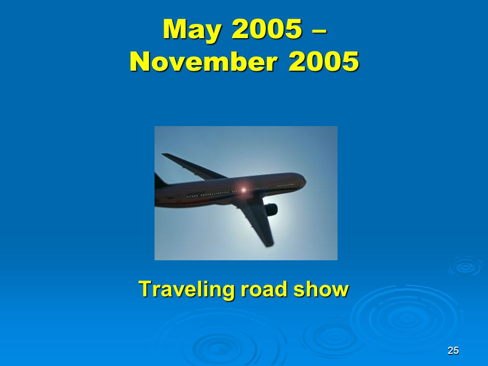 25 May 2005 – November 2005 Traveling road show