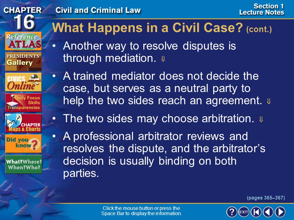 Section 1-11 What Happens in a Civil Case.