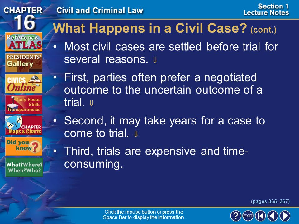 Section 1-12 What Happens in a Civil Case.
