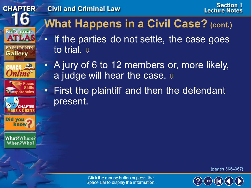 Section 1-13 What Happens in a Civil Case.