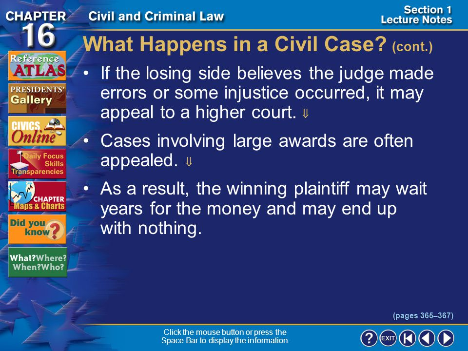 Section 1-16 What Happens in a Civil Case.