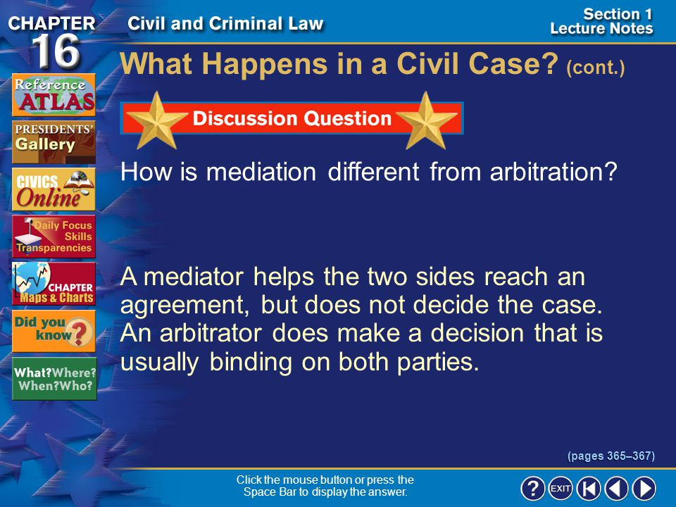 Section 1-17 What Happens in a Civil Case.