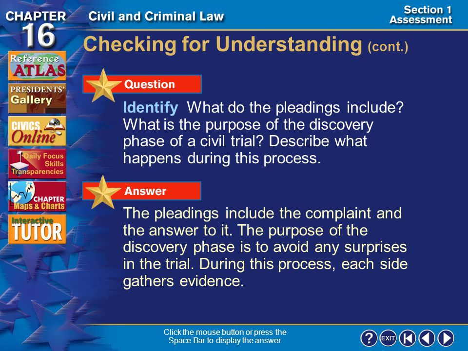Section 1-20 Checking for Understanding (cont.) In an equity suit, there is no existing law to help decide the case. Click the mouse button or press t