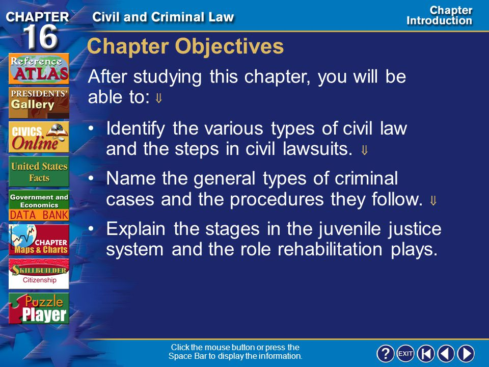 Chapter Intro 1 Chapter Overview In Chapter 16 you learn about civil and criminal law.