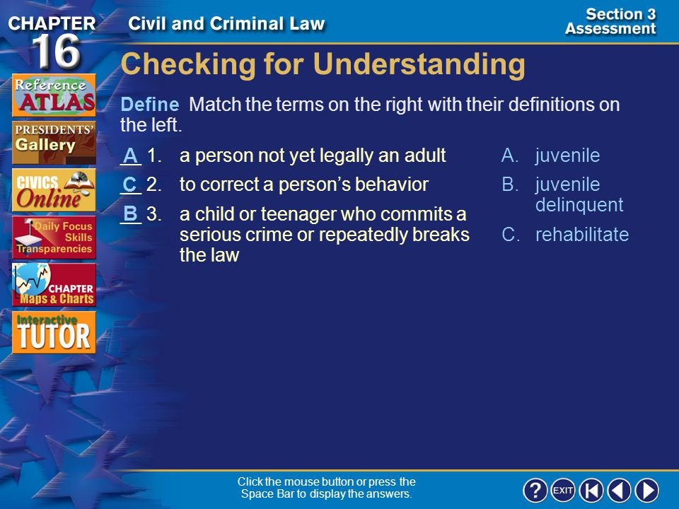 Section 3-18 Click the mouse button or press the Space Bar to display the answer. What rights do adults have in a criminal case that were not given to