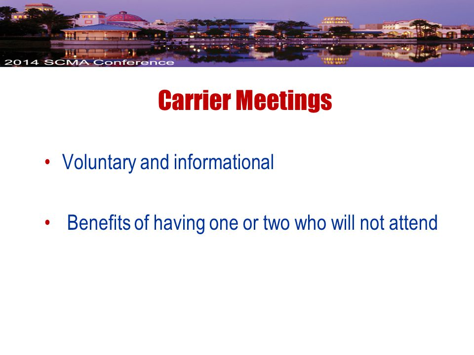 Voluntary and informational Benefits of having one or two who will not attend