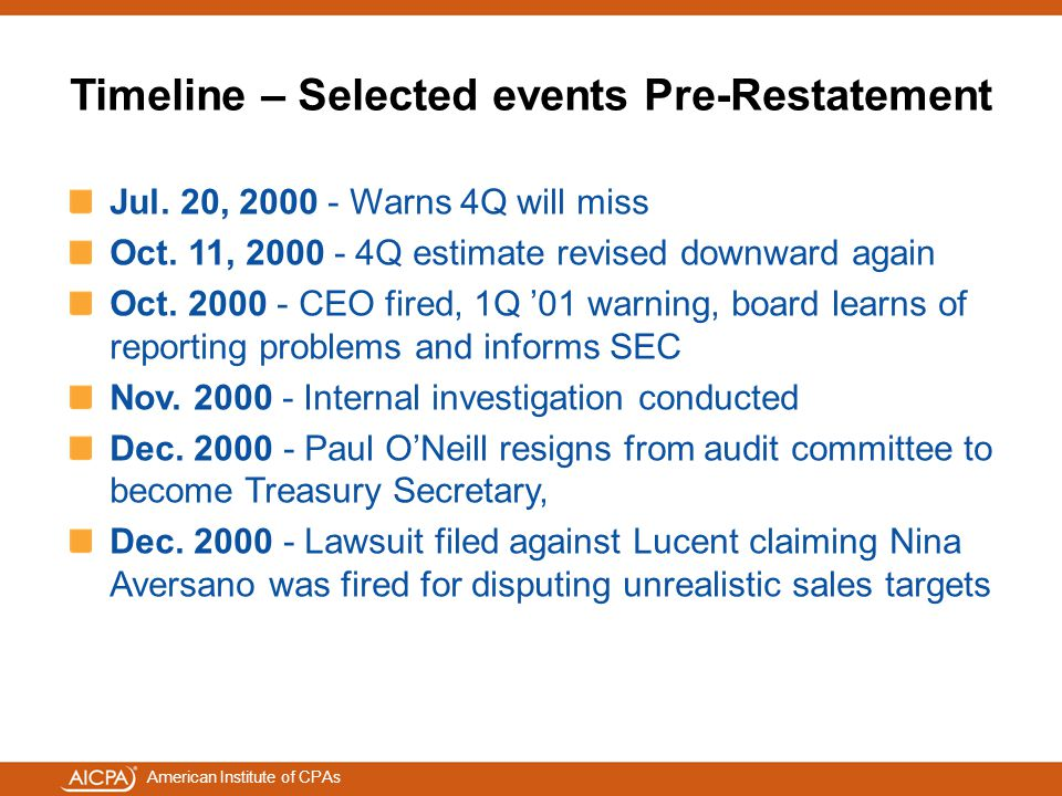 American Institute of CPAs Timeline – Selected events Pre-Restatement Jul. 20, 2000 - Warns 4Q will miss Oct. 11, 2000 - 4Q estimate revised downward