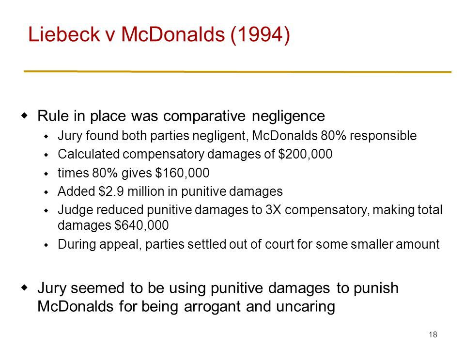 18  Rule in place was comparative negligence  Jury found both parties negligent, McDonalds 80% responsible  Calculated compensatory damages of $200,000  times 80% gives $160,000  Added $2.9 million in punitive damages  Judge reduced punitive damages to 3X compensatory, making total damages $640,000  During appeal, parties settled out of court for some smaller amount  Jury seemed to be using punitive damages to punish McDonalds for being arrogant and uncaring Liebeck v McDonalds (1994)