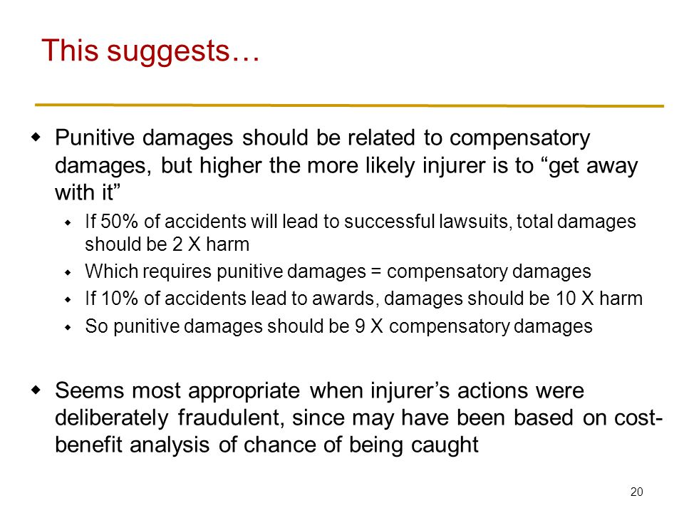 20  Punitive damages should be related to compensatory damages, but higher the more likely injurer is to get away with it  If 50% of accidents will lead to successful lawsuits, total damages should be 2 X harm  Which requires punitive damages = compensatory damages  If 10% of accidents lead to awards, damages should be 10 X harm  So punitive damages should be 9 X compensatory damages  Seems most appropriate when injurer's actions were deliberately fraudulent, since may have been based on cost- benefit analysis of chance of being caught This suggests…
