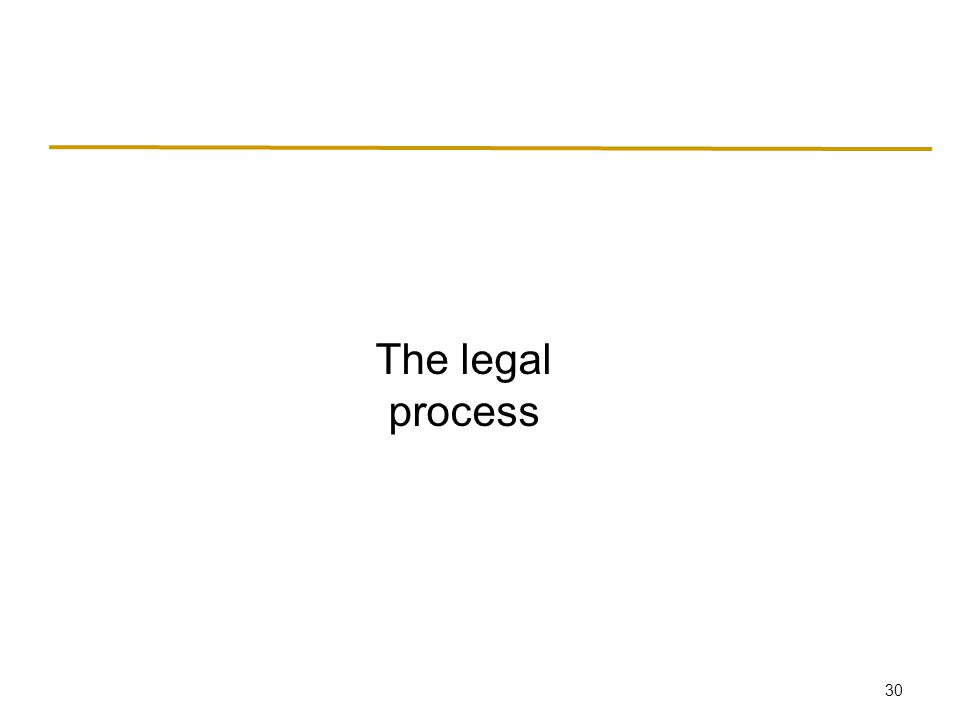 30 The legal process