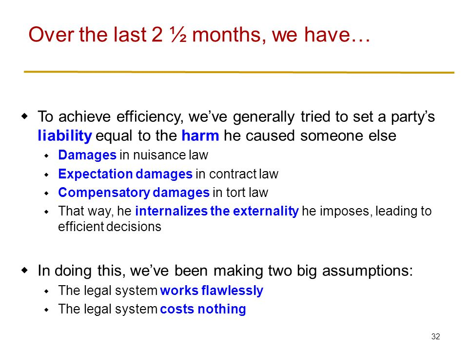 32  To achieve efficiency, we've generally tried to set a party's liability equal to the harm he caused someone else  Damages in nuisance law  Expectation damages in contract law  Compensatory damages in tort law  That way, he internalizes the externality he imposes, leading to efficient decisions  In doing this, we've been making two big assumptions:  The legal system works flawlessly  The legal system costs nothing Over the last 2 ½ months, we have…