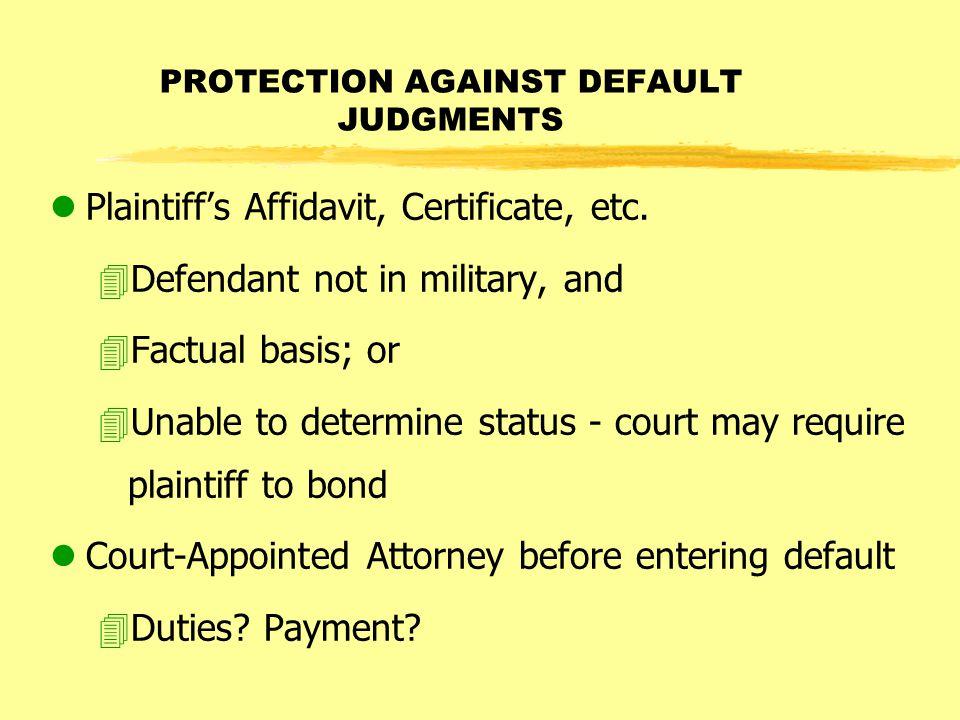 lPlaintiff's Affidavit, Certificate, etc.
