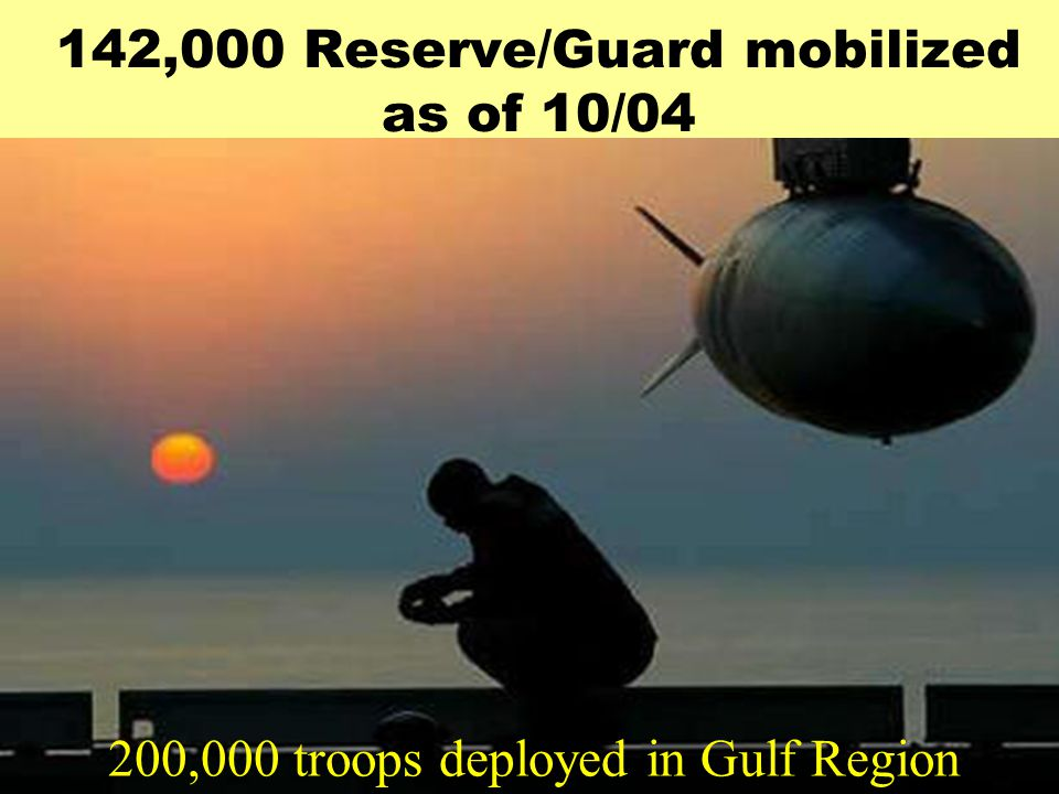 142,000 Reserve/Guard mobilized as of 10/04 200,000 troops deployed in Gulf Region