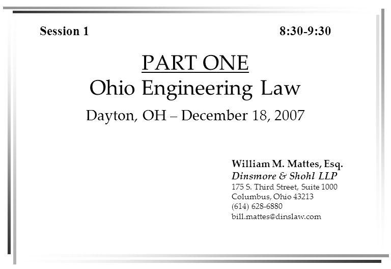 SEMINAL ENGINEERING EXPERT CASES IN OHIO Miller v.