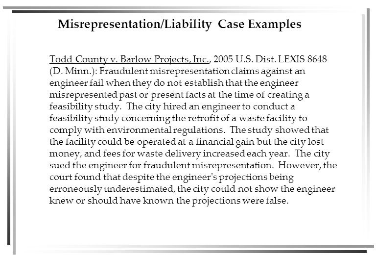Misrepresentation/Liability Case Examples Todd County v.