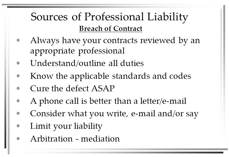 Sources of Professional Liability Malpractice [E]ngineering is a licensed profession in the layman s use of the word profession , but nowhere does the law bring that profession within the benefits or handicaps afforded law and medicine in defining the extent to which the word malpractice may be interpreted in a statute of limitations… the conduct complained of may be a breach of contract but cannot be construed as malpractice… Wishnek v.