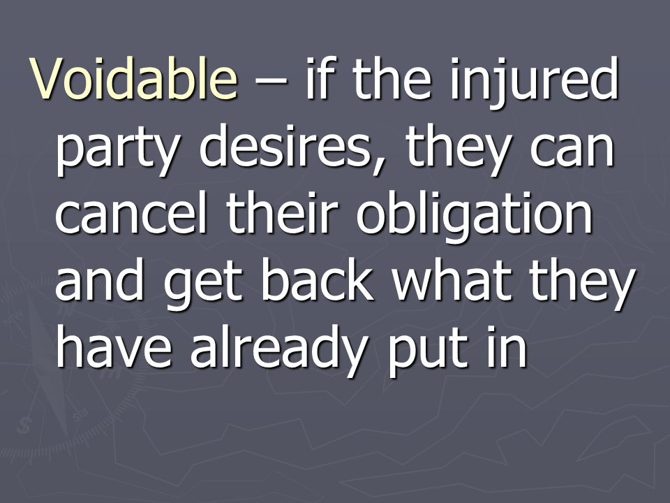 Voidable – if the injured party desires, they can cancel their obligation and get back what they have already put in