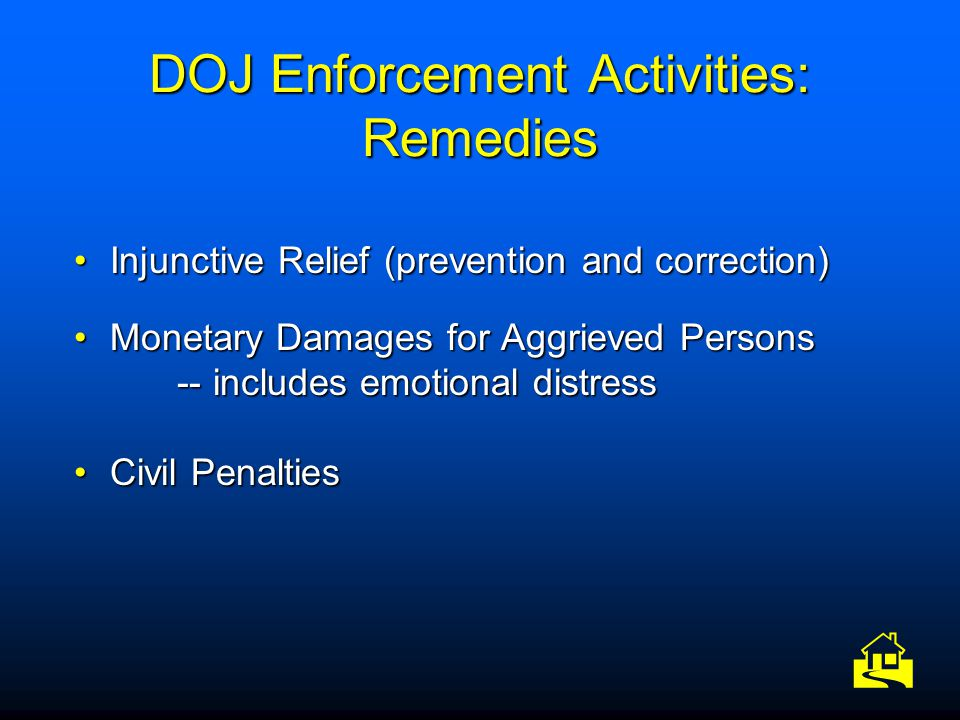 DOJ Enforcement Activities: Remedies Injunctive Relief (prevention and correction)Injunctive Relief (prevention and correction) Monetary Damages for A