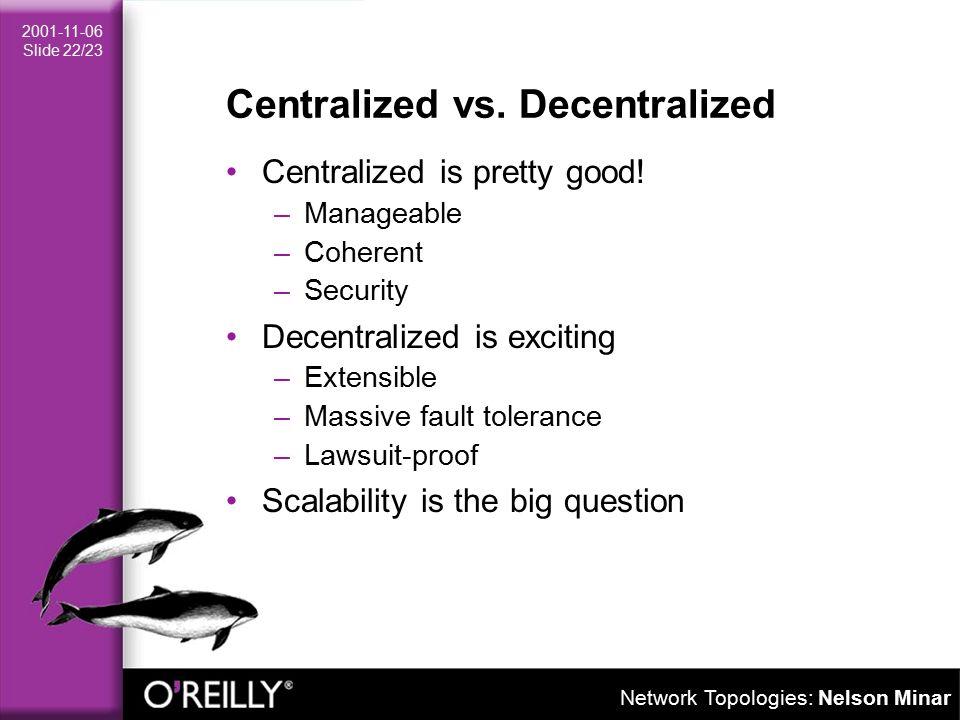 Network Topologies: Nelson Minar 2001-11-06 Slide 22/23 Centralized vs.