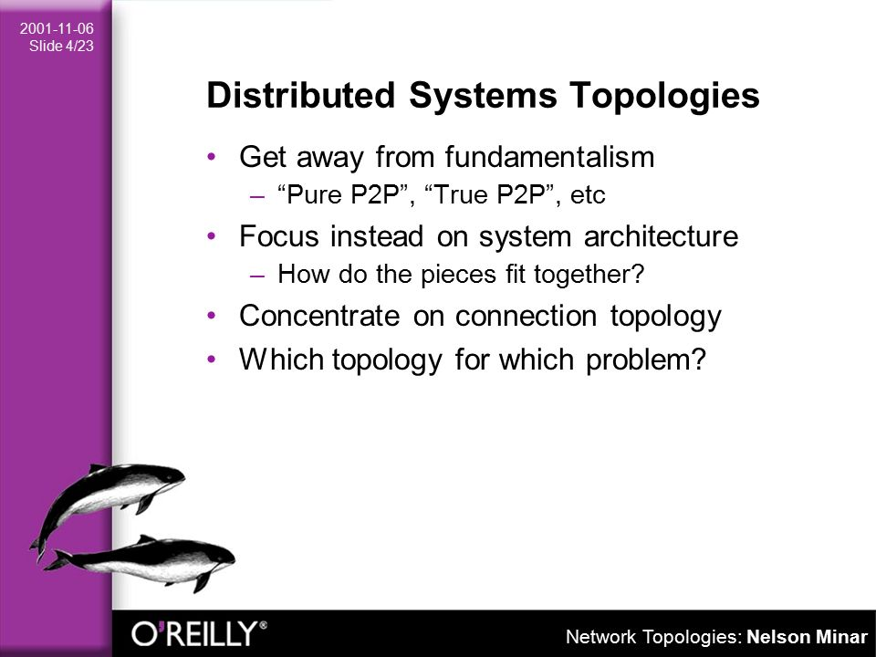 Network Topologies: Nelson Minar 2001-11-06 Slide 15/23 Things to Measure Manageability –How hard is it to keep working.