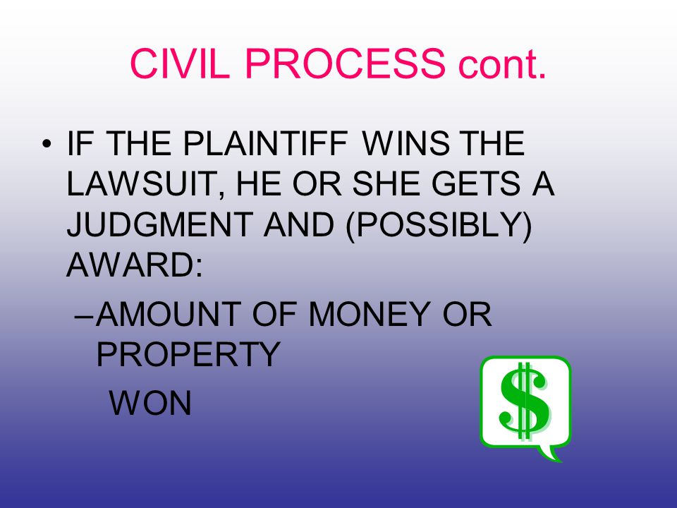 CIVIL PROCESS cont.