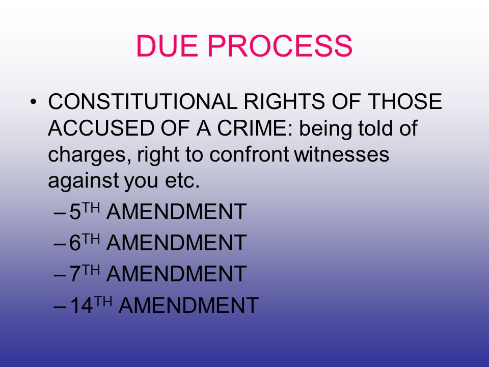 DUE PROCESS CONSTITUTIONAL RIGHTS OF THOSE ACCUSED OF A CRIME: being told of charges, right to confront witnesses against you etc.