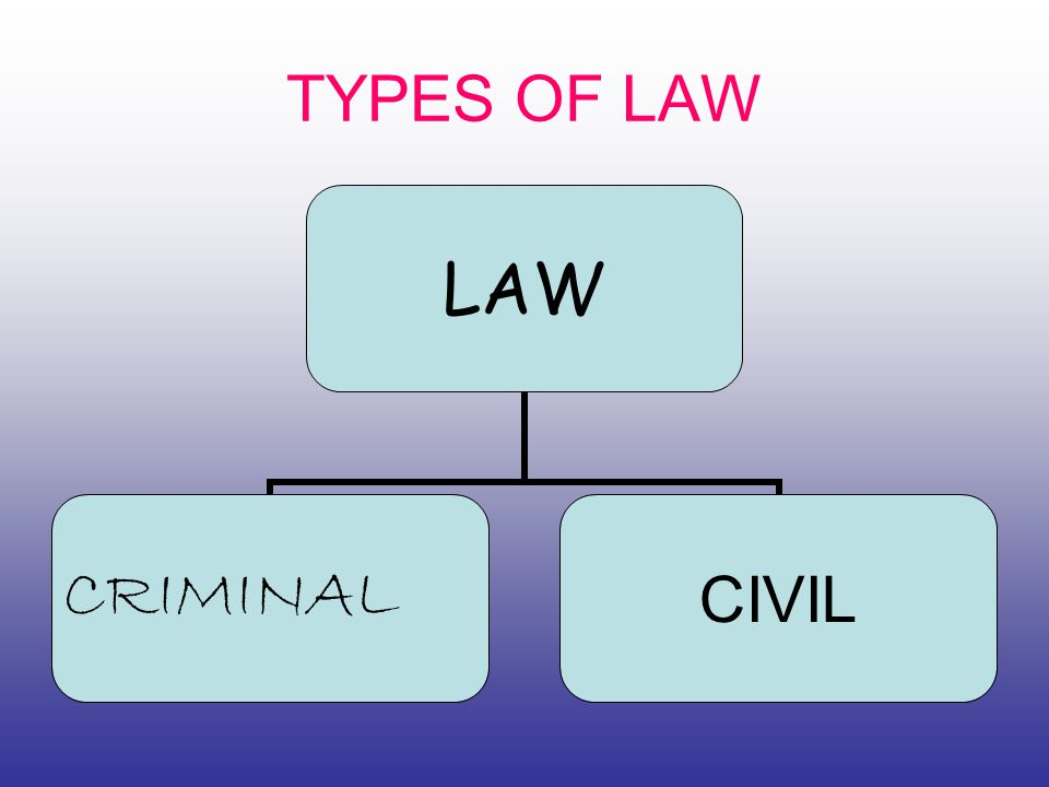 TYPES OF LAW LAW CRIMINAL CIVIL