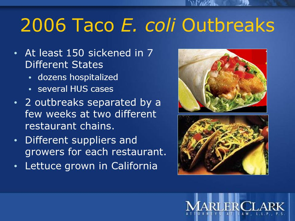 54 2006 Taco E. coli Outbreaks At least 150 sickened in 7 Different States dozens hospitalized several HUS cases 2 outbreaks separated by a few weeks