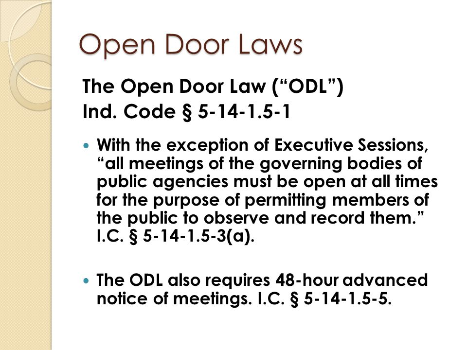 Open Door Laws What about committees.