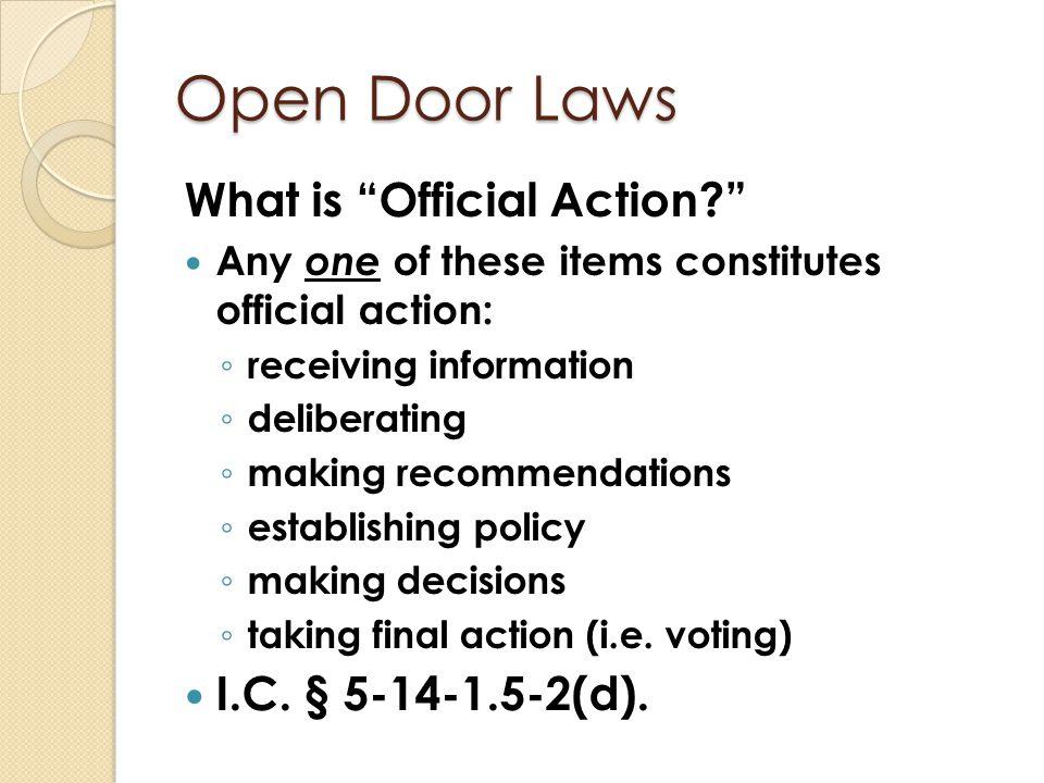 Open Door Laws What is NOT a Meeting.