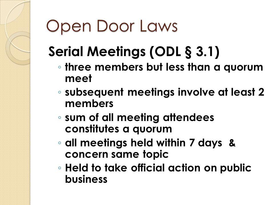 Open Door Laws Executive Sessions (I.C.