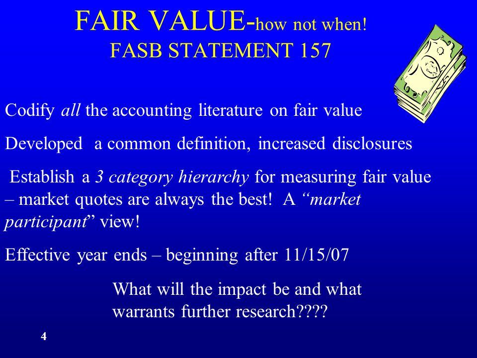 15 FAIR VALUE VS.