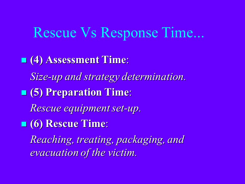Response Vs Rescue Time... n (1) React Time: Attendant recognizes that the Entrant has a problem. n (2) Contact Time: Attendant contacts the Rescue Se
