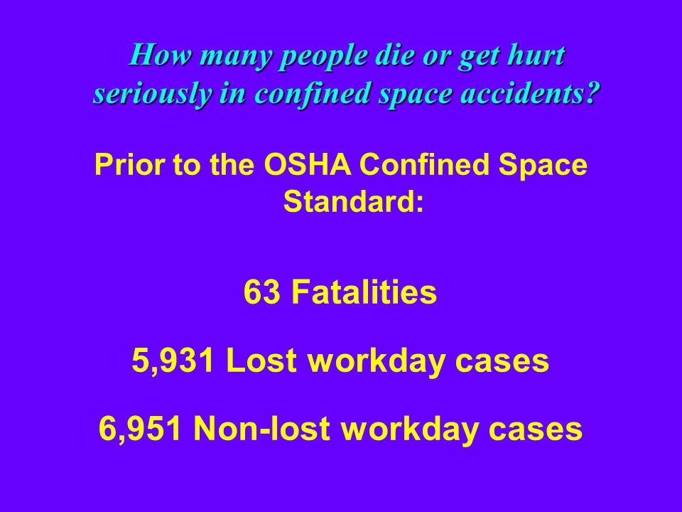 Most confined space fatalities are poorly trained rescuers… Many of these heroes died because their employer unintentionally broke the law- OSHA regul