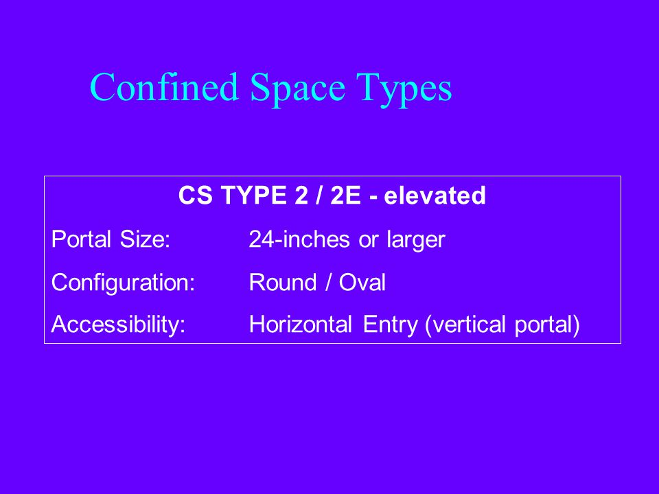 Confined Space Types CS TYPE 1 / 1E - elevated Portal Size: Less than 24-inches Configuration:Round / Oval Accessibility:Horizontal Entry (vertical po