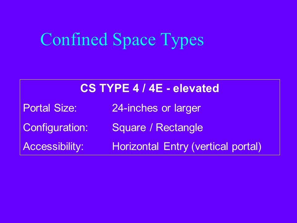 Confined Space Types CS TYPE 3 / 3E - elevated Portal Size: Less than 24-inches Configuration:Square / Rectangle Accessibility:Horizontal Entry (verti