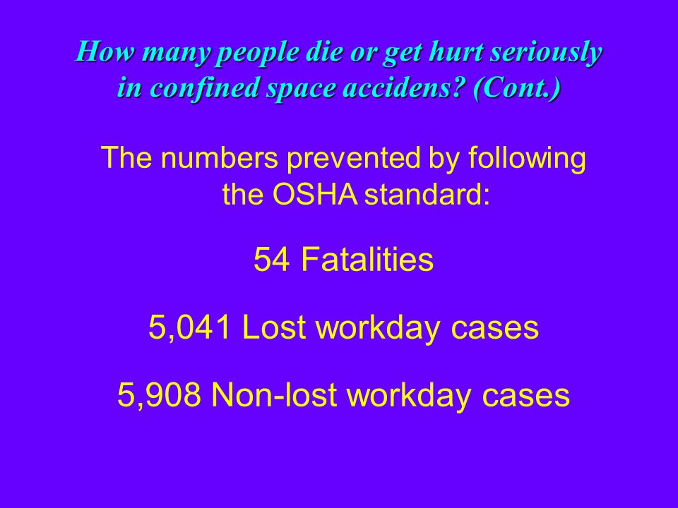 How many people die or get hurt seriously in confined space accidents? (Cont.) The numbers of deaths and injuries if the OSHA standard is followed: 9
