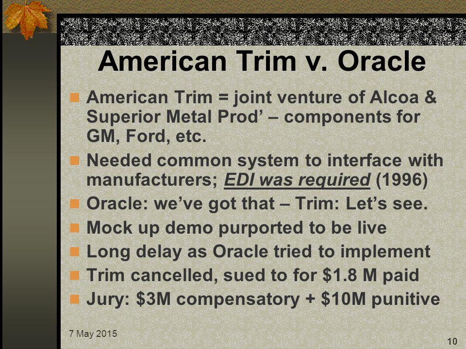 7 May 2015 10 American Trim v.